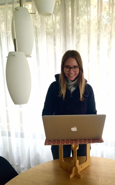 Brenna Loury with portable standing desk