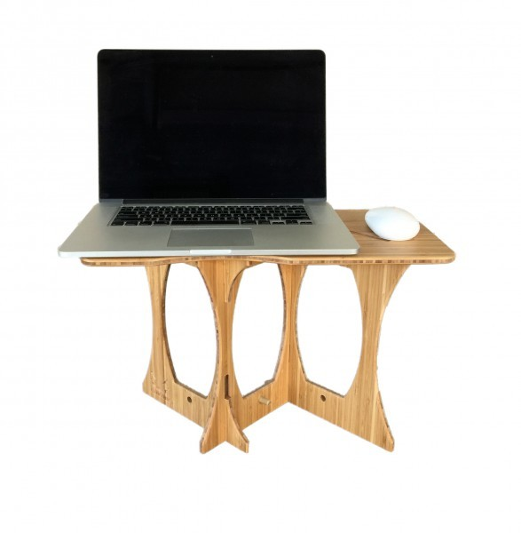 elegant sit stand desk in bamboo