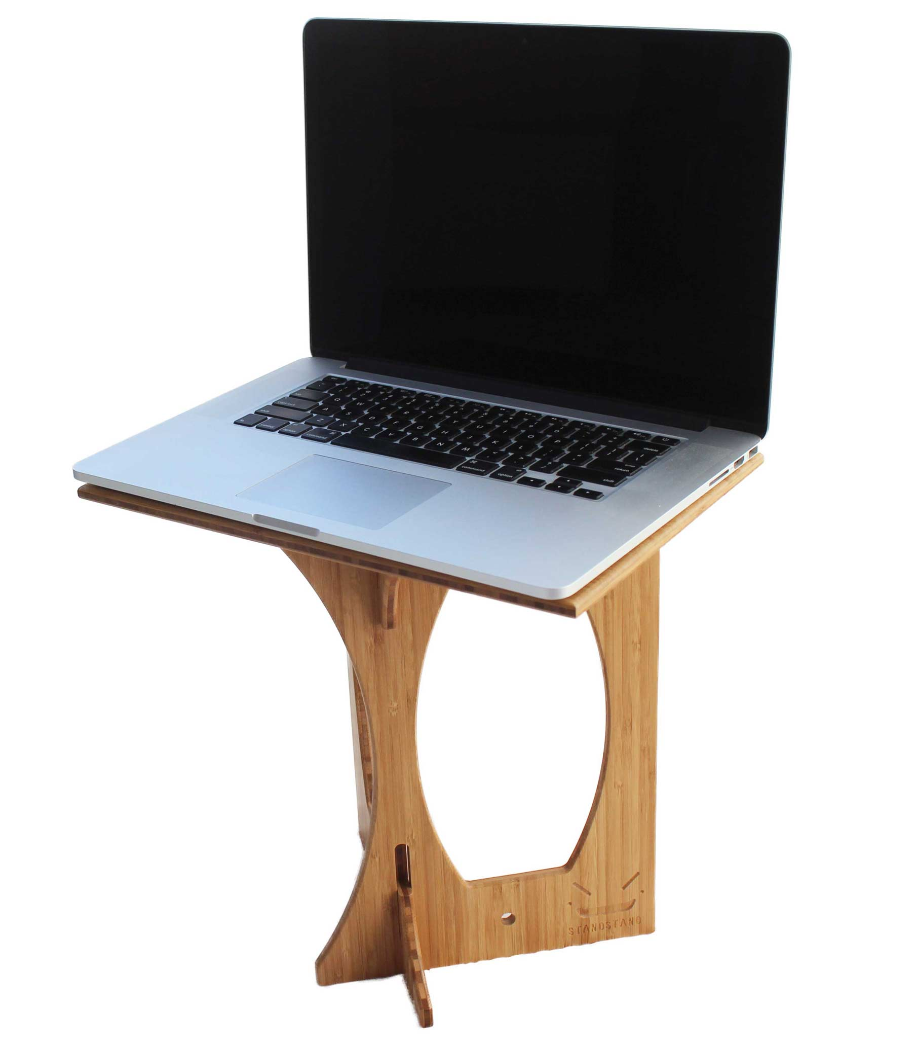 Laptop Chair Desk Standstand De Luxe In Bamboo Standstand Portable Standing Desk